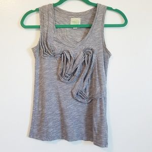 Anthro Little Yellow Button Gray White Ruffle Tank